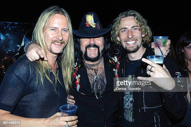Jerry Cantrell Vinnie Paul and Chad Kroeger during Gene Simmons' Birthday Party August 25 2005 at The Palms Hotel and Casino Resort in Las Vegas...