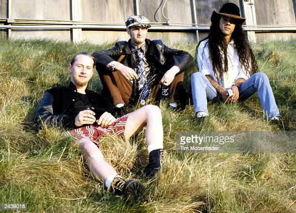 Jerry Catrell Layne Staley and Mike Inez of Alice in Chains backstage at Lollapalooza 93 at Shoreline Amphitheater in Mountain View Calif on June...