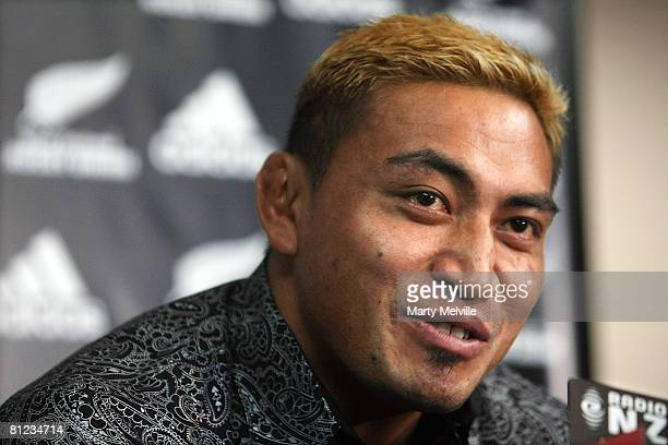 Jerry Collins of the Hurricanes and the New Zealand All Blacks addresses the media during a press conference at the New Zealand Rugby Union...