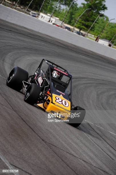 Jerry Coons Jr Gene Nolen Racing makes a lap in time trials for the Carb Night Classic United States Auto Club Silver Crown Champ Car Series 100lap...
