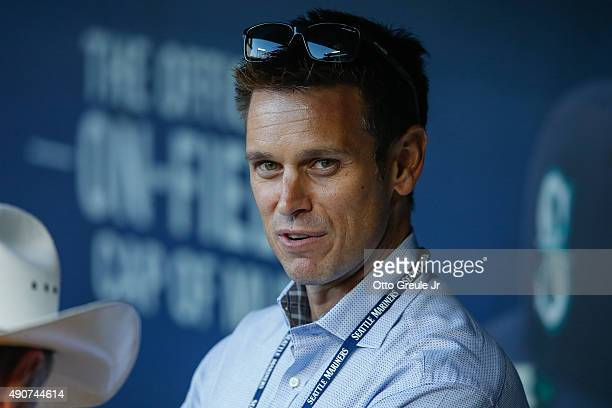 Jerry Dipoto of the Seattle Mariners looks on from the dugout prior to the game against the Houston Astros at Safeco Field on September 30 2015 in...