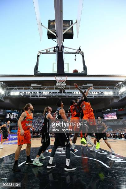 Jerry Evans Jr of the Cairns Taipans rebounds during the round 14 NBL match between Melbourne United and the Cairns Taipans at Hisense Arena on...