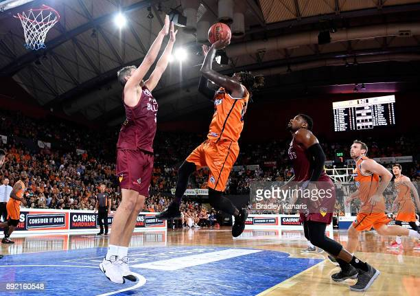 Jerry Evans Jr of the Taipans drives to the basket during the round 10 NBL match between the Cairns Taipans and the Brisbane Bullets at Cairns...