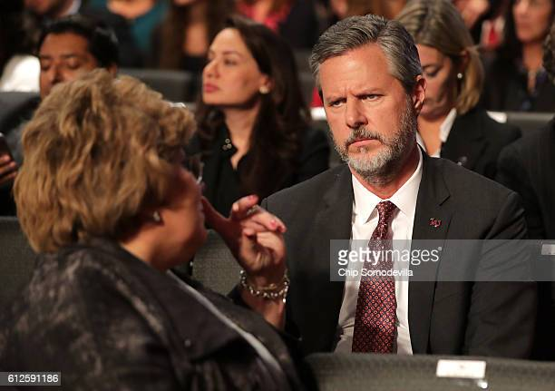 Jerry Falwell Jr attends the Vice Presidential Debate between Democratic vice presidential nominee Tim Kaine and Republican vice presidential nominee...
