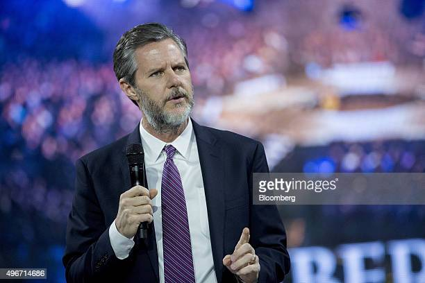 Jerry Falwell Jr president of Liberty University speaks during a Liberty University Convocation with Ben Carson 2016 Republican presidential...