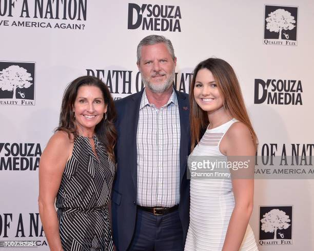Jerry Falwell Jr with his wife Becki Falwell and daughter Caroline attend the DC premiere of the film Death of a Nation at E Street Cinema on August...