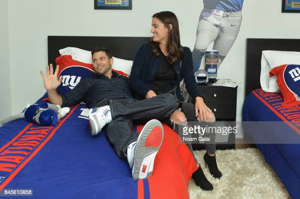 Jerry Ferrara and Breanne Racano attend gameday kickoff at the Bookingcom Football House on September 10 2017 in Jersey City New Jersey