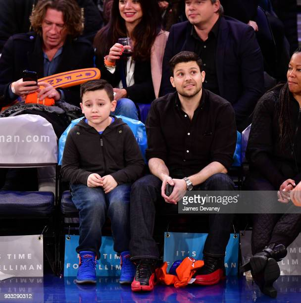 Jerry Ferrara and guest attend New York Knicks Vs Charlotte Hornets game at Madison Square Garden on March 17 2018 in New York City