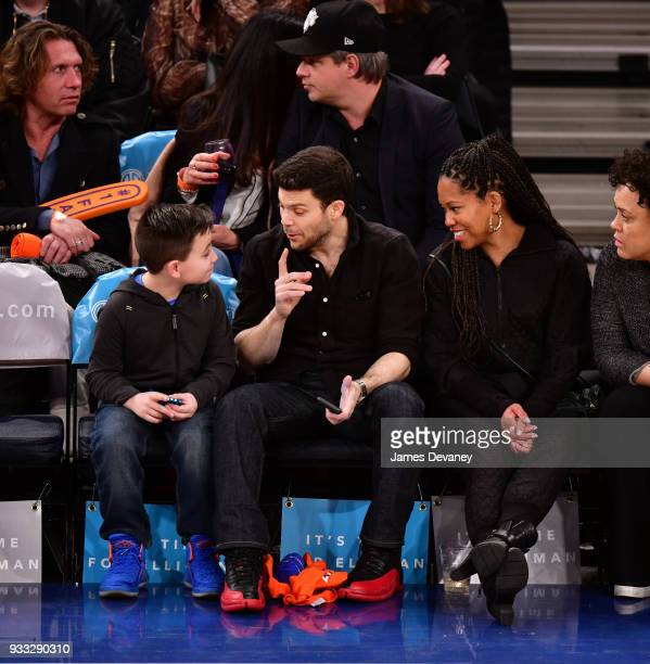 Jerry Ferrara and Regina King attend New York Knicks Vs Charlotte Hornets game at Madison Square Garden on March 17 2018 in New York City