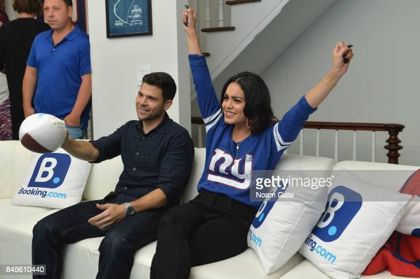 Jerry Ferrara and Vanessa Hudgens attend gameday kickoff at the Bookingcom Football House on September 10 2017 in Jersey City New Jersey