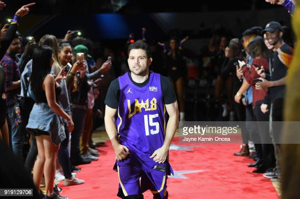 Jerry Ferrara takes the floor during player introductions prior to the 2018 NBA AllStar Game Celebrity Game at Los Angeles Convention Center on...