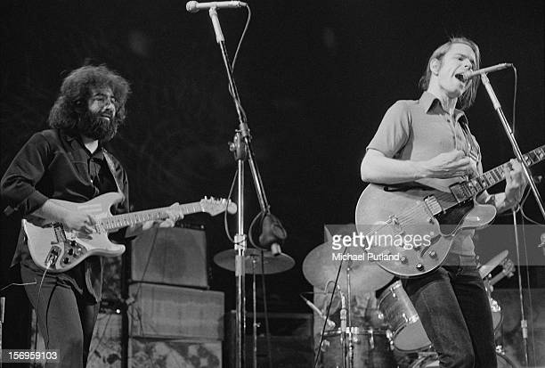 Jerry Garcia and Bob Weir of American rock band The Grateful Dead performing at the Empire Pool at Wembley London 7th April 1972