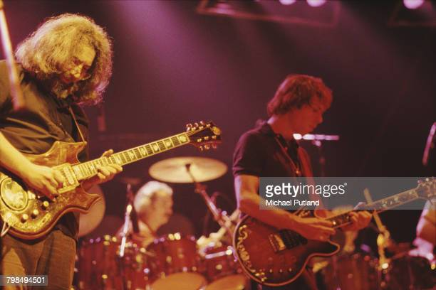 Jerry Garcia and Bob Weir of American rock band The Grateful Dead performing at the Wembley Empire Pool in London on 7th April 1972