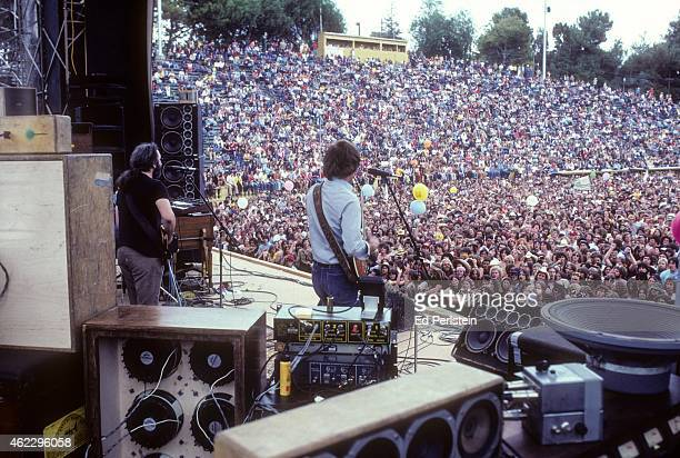 Jerry Garcia and Bob Weir perform with The Grateful Dead at Spartan Stadium on April 22, 1979 in San Jose, California.