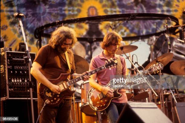 Jerry Garcia and Bob Weir performing with the Grateful Dead at the Greek Theater in Berkeley on September 13 1981 Bob Weir plays an Ibanez guitar