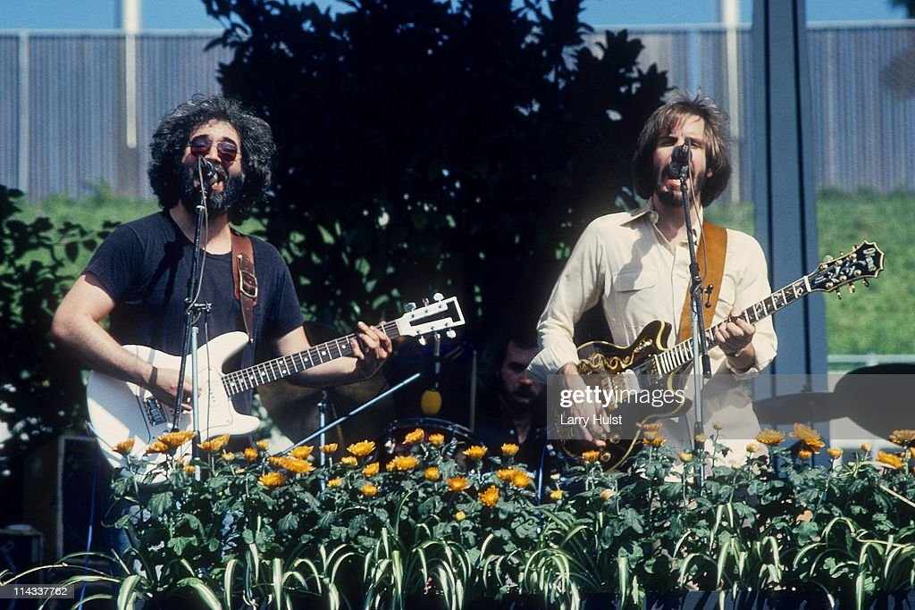 Jerry Garcia and Bob Weir performing with 'the Grateful Dead' in Oakland Coliseum in Oakland, California on October 9, 1976.