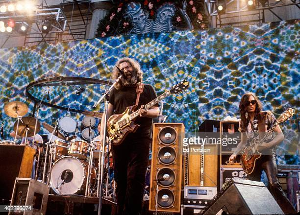 Jerry Garcia and guest John Cipollina perform with the Grateful Dead at the Greek Theater in May 1983 in Berkeley California