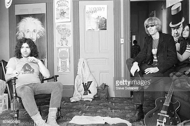 Jerry Garcia and Phil Lesh in the building the Grateful Dead shared at 710 Ashbury in the Haight Ashbury neighborhood of San Francisco