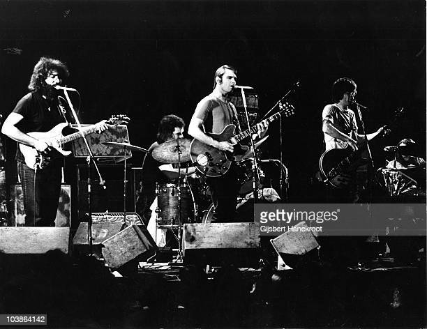 Jerry Garcia Bill Kreutzmann Bob Weir and Phil Lesh of The Grateful Dead perform on stage at the Tivoli Conceert Hall in April 1972 in Copenhagen...