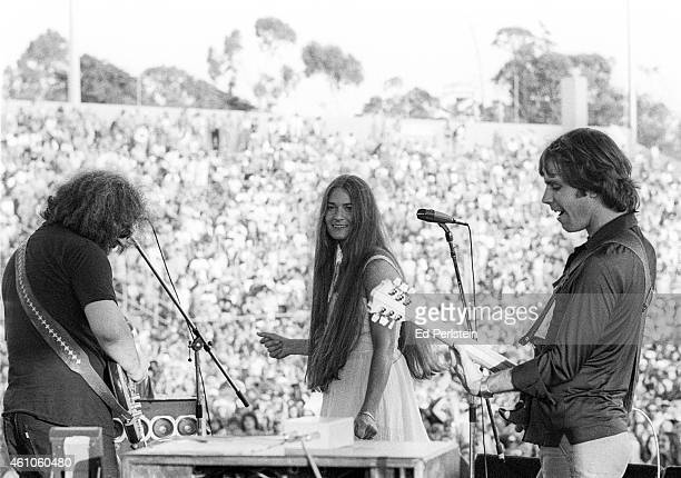 Jerry Garcia Donna Godchaux and Bob Weir perform with The Grateful Dead at Santa Barbara Stadium on June 4 1978 at UC Santa Barbara