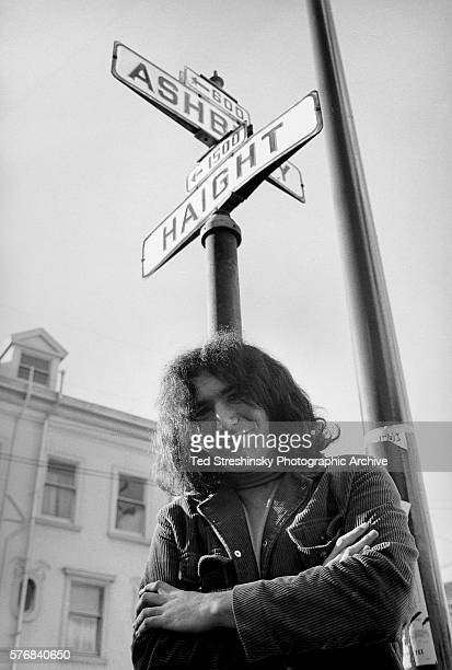 Jerry Garcia founder of the rock band the Grateful Dead stands at the corner of Haight and Ashbury in San Francisco 1966