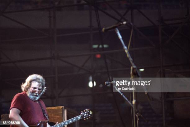 Jerry Garcia guitarist for the Grateful Dead performs at the Hubert H Humphrey Metrodome in Minneapolis Minnesota on June 26 1986