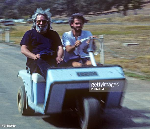 Jerry Garcia is seen backstage at the Mountain Aire Music Festival on August 23 1987 in Calavaras California