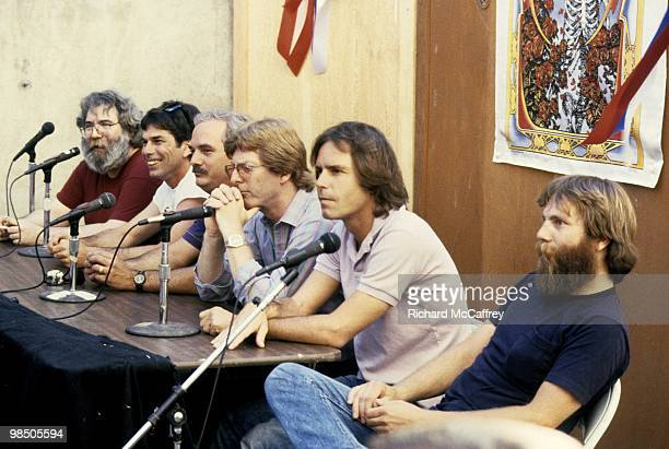 Jerry Garcia Mickey Hart Bill Kreutzmann Phil Lesh Bob Weir and Brent Mydland of the Grateful Dead speak live with the press at The Greek Theatre in...