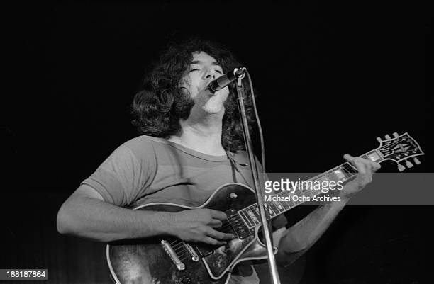 Jerry Garcia of The Grateful Dead performs at the Cafe Au Go Go on June 8 1967 in New York City New York
