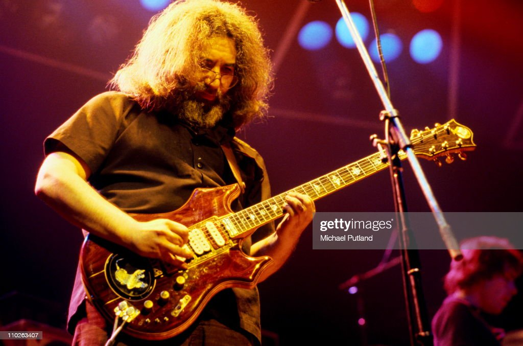 Jerry Garcia of The Grateful Dead performs on stage, Wembley Empire Pool, London, 7th April 1972.