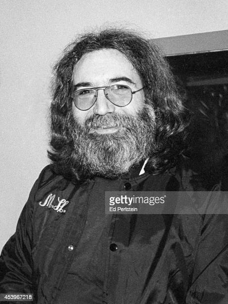Jerry Garcia of The Grateful Dead ready to accept the Musician of the Year award at the Bay Area Music Awards poses backstage at the Warfield Theater...