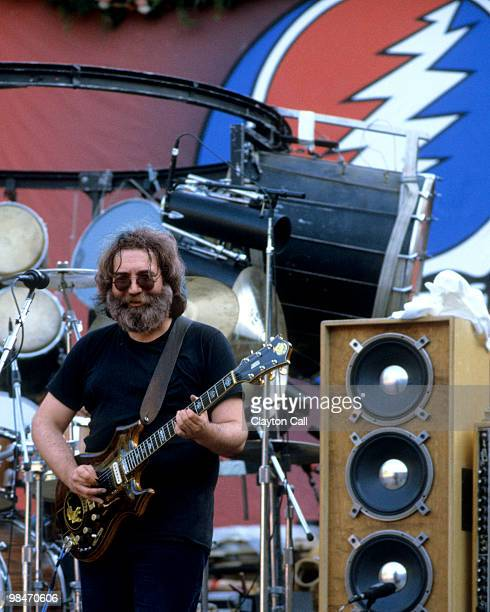 Jerry Garcia performing with the Grateful Dead at Frost Ampitheater on the Stanford Campus in Palo Alto California on October 9 1982