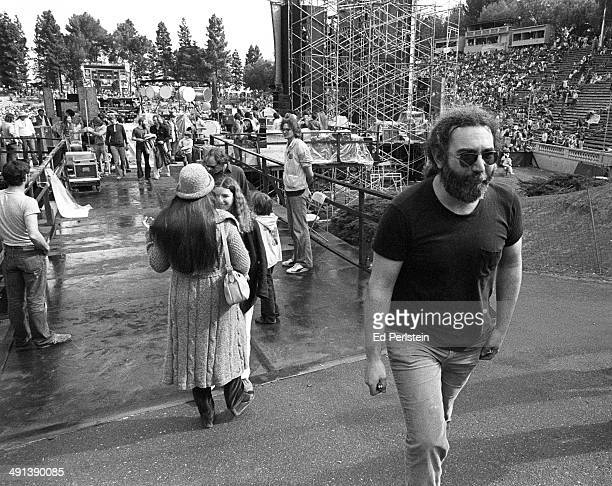 Jerry Garcia performs with The Grateful Dead at Spartan Stadium on April 22, 1979 in San Jose, California.