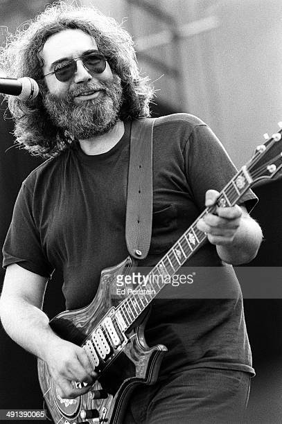 Jerry Garcia performs with the Grateful Dead at the Greek Theater in September 1981 in Berkeley California