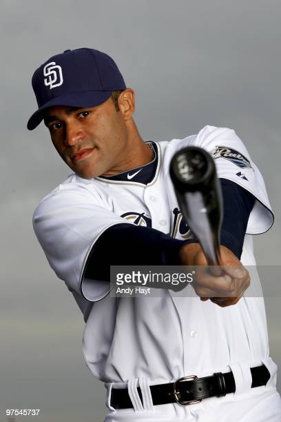 Jerry Hairston Jr. #15 of the San Diego Padres poses during photo media day at the Padres spring training complex on February 27, 2010 in Peoria,...