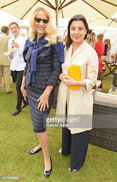 Jerry Hall and Allegra Donn attend The Cartier Queen's Cup final at Guards Polo Club on June 14 2015 in Egham England