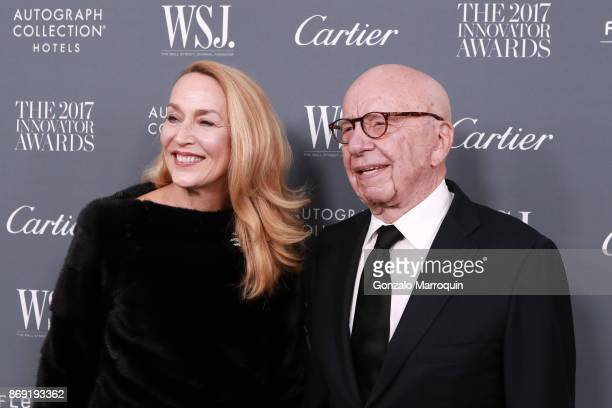 Jerry Hall and Chairman of Fox News Channel Rupert Murdoch during the WSJ Magazine 2017 Innovator Awards at Museum of Modern Art on November 1 2017...