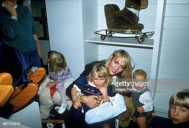 Jerry Hall and children circa 1986 in New York City