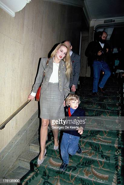 Jerry Hall and her son James Jagger in 1990 ca. In London, England.