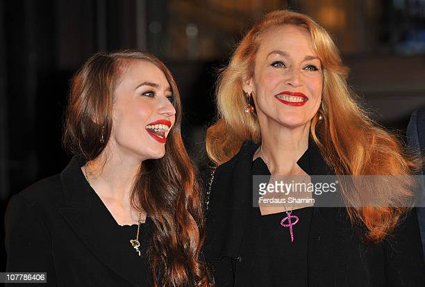 Jerry Hall and Lizzy Jagger open the Harrods Winter sale at Harrods on December 27 2010 in London England