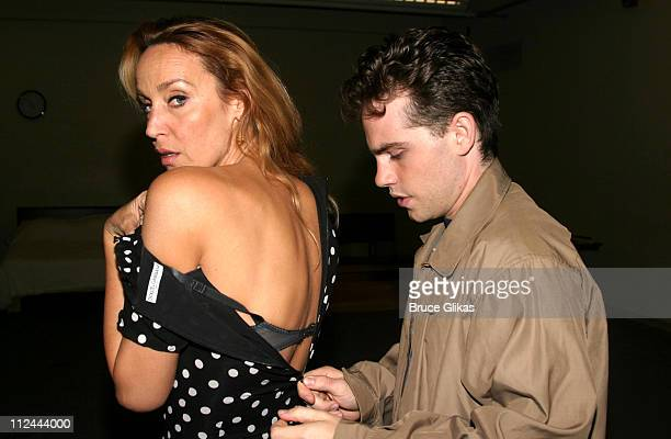 Jerry Hall and Rider Strong during Rehearsasl for the Touring Company of 'The Graduate' Starring Jerry Hall at 890 Broadway Rehearsal Studios in New...