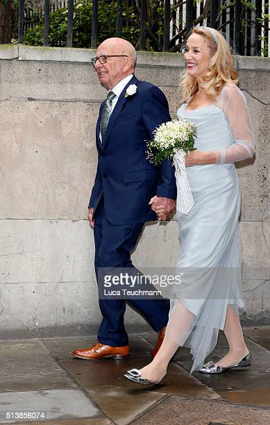 Jerry Hall and Rupert Murdoch are seen leaving St Bride's Church after their wedding ceremony on March 5 2016 in London England