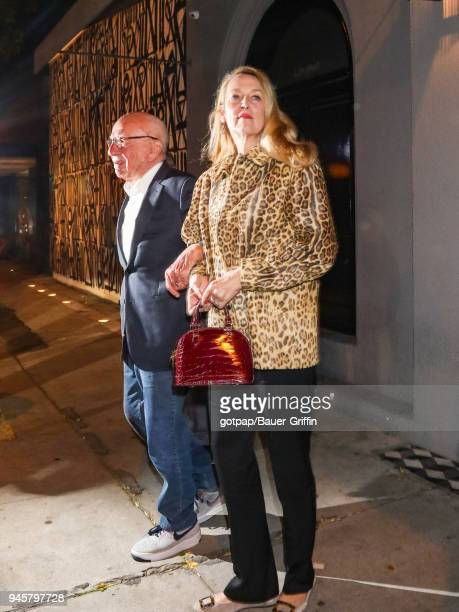 Jerry Hall and Rupert Murdoch are seen on April 12 2018 in Los Angeles California