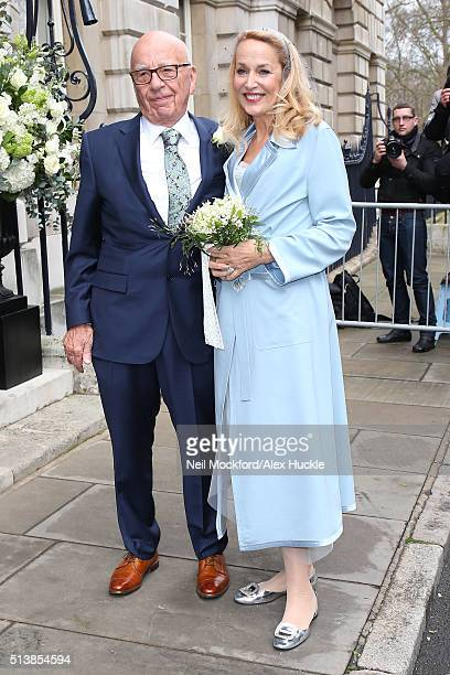 Jerry Hall and Rupert Murdoch arrive at Spencer House for their Wedding Reception on March 5 2016 in London England