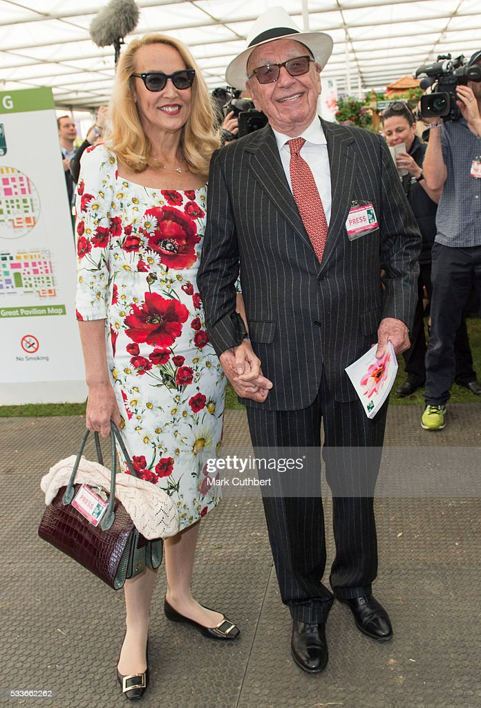 Jerry Hall and Rupert Murdoch attend Chelsea Flower Show press day at Royal Hospital Chelsea on May 23, 2016 in London, England. The show, which has run annually since 1913 in the grounds of the Royal Hospital Chelsea, is open to the public from 24-28 May.