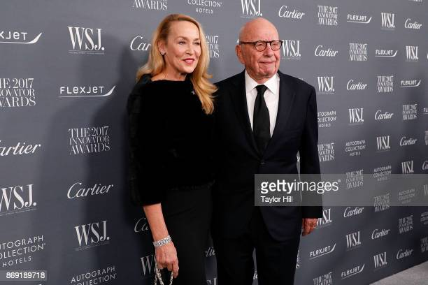 Jerry Hall and Rupert Murdoch attend the 2017 WSJ Innovator Awards at Museum of Modern Art on November 1 2017 in New York City