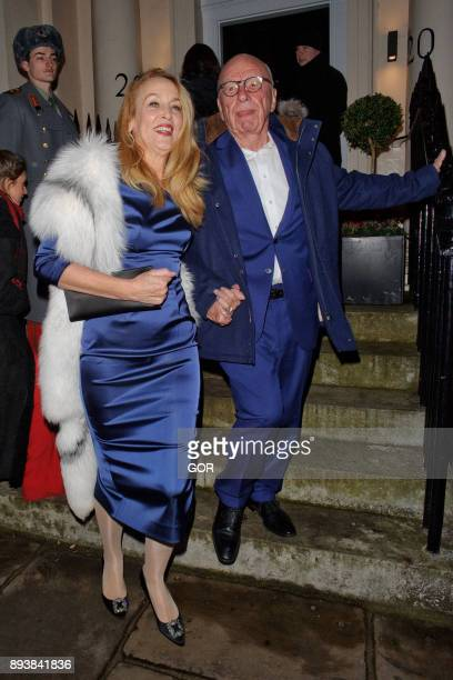Jerry Hall and Rupert Murdoch leaving the Evgeny Lebedev Christmas party held at a private residence in North London on December 15 2017 in London...