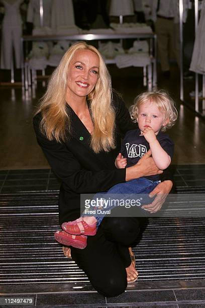 Jerry Hall and son during GAP photocall at Knightsbridge in London at Gap in Knightsbridge in London United Kingdom
