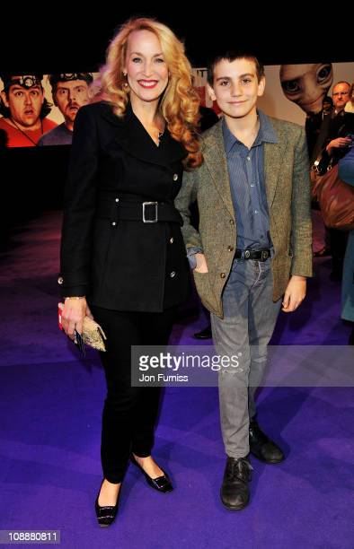 Jerry Hall and son Gabriel Jagger attend the world premiere of Paul at The Empire Cinema on February 7 2011 in London England