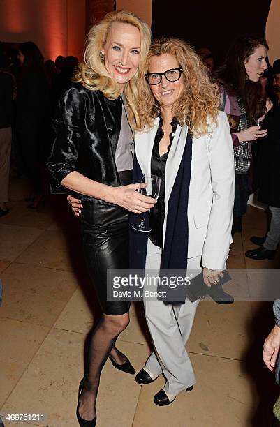 Jerry Hall and Suzanne Wyman attend a private view of Bailey's Stardust a exhibition of images by David Bailey supported by Hugo Boss at the National...